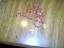 VINTAGE - RED BEAD ROSARY - WITH PICTURE OF JESUS ON CROSS