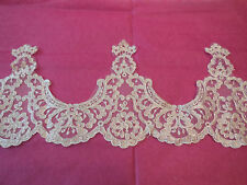 Ivory & silver cords Embroidered Floral lace trim/ Bridal gown trim.Per Yard