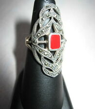 STERLING SILVER MARCASITE RED ENAMEL RING 925 Elongated Size 6 Steampunk Victori