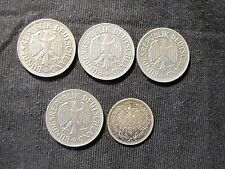 Lot 5 Germany Coins - 1918-A 1/2 Mark Silver & 4x 1950-D 1 Mark Coins