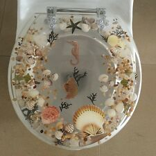 "Seahorse Seashells Acrylic Round shaped Toilet Seat Clear 17"" INCH"