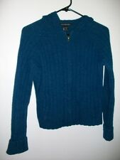 Abercrombie & Fitch AF Blue Hooded Wool Cardigan Full-Zip Sweater Womens Medium