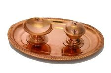 Pure Copper Pooja Plate with Diya & Incense Holder - Large Polished Finish