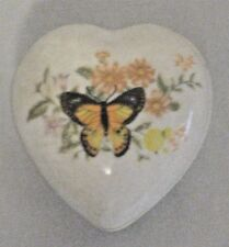Porcelain Butterfly Heart Shaped Candle Trinket Box