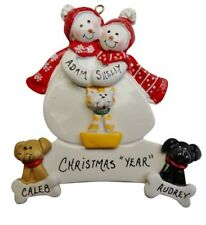 Personalized Snowman Couple Family of 2 with 3 Dogs or Cats Christmas Ornament