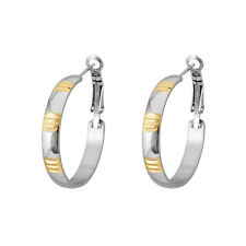 "JP Passion Quality Stainless Steel Gold Plated Inlay Hoop 1-3/8"" Earrings"