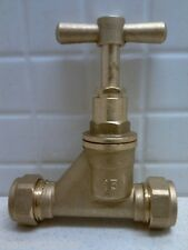 BRASS MAINS STOPCOCK 15mm STOP COCK COMPRESSION TAP