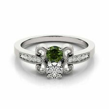 1.097  Carat Green&White VS2-SI1 2 Diamond Solitaire Engagement Ring 14k WG