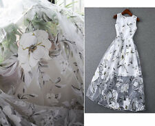 "Lace Fabric White Organza Beautiful Printing Dress Wedding 55"" width 1 yard"