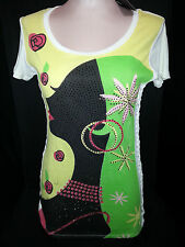 NWT LUCULTURE Womens Short Sleeve Geometric Graphic T- Shirt L Large White Green