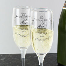 Personalised Champagne Flute Toasting Glasses Gift Box Weddings, Anniversary