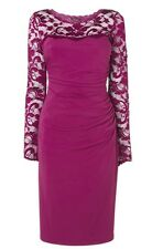 BNWT Phase Eight / 8 Cassis Rhona Ruched Lace dress Size 12