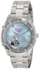BULOVA DRESS AUTOMATIC 24 DIAMONDS BLUE MOP DIAL ST.ST. WOMEN'S WATCH 96R151 NEW