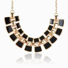 Fashion Gold Plated Black Enamel Square Chain Statement Collar Pendant Necklace