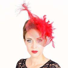 Fascinator Plumes ROUGE Pince à cheveux Voile Bijou Pour Mariage Mariée grand