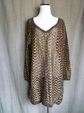 Free People New Romantics Brown & Gold Open Knit Crochet Tunic Sweater- M