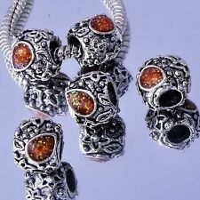 5Pcs Silver Filled Enamel Charms Beads European DIY Womens Girls Bracelet