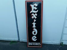 Vintage advertising exide batterie sign car gas pump man cave display