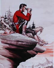 Canadian Mountie RMCP on Cliff with Binoculars by Burne Hogarth