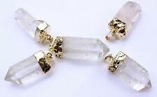 10 Gold Plated Quartz Crystal Point Pendants Bulk Wholesale Lot Crystal Healing