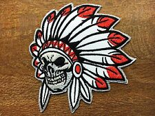 Native Indian Chief Feather Skull Punk Skeleton Embroidered Sew Iron on Patch