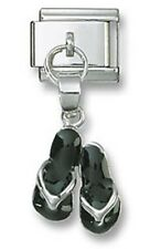 Italian Charm Link Dangle Black Sandals 925 Sterling Silver Fit 9mm Bracelet New