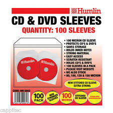 100 HUMLIN QUALITY 100 MICRON CLEAR CD / DVD SLEEVES WITH STITCHED EDGE SEEM