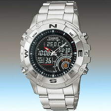 Casio AMW-705D-1AV Mens Hunting Timer Watch Stainless Steel Band Thermometer New