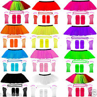 KIDS ADULTS NEON UV 1980s GIRLS FANCY DRESS HEN PARTY TUTU COMPLETE SET 8-16