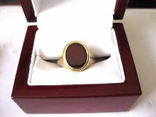 ANTIQUE VICTORIAN 375 YELLOW GOLD MENS RING wit NATURAL CARNELIAN,BIRMINGHAM,19c