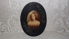 ANTIQUE TIN TYPE PICTURE PHOTO PORTRAIT LITTLE GIRL WOOD FLORAL ORNATE FRAME