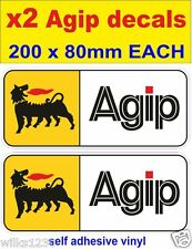x2 Agip oil rally race bike classic decals car van bus truck mini sticker dub