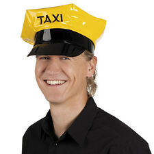 Yellow Taxi Driver Hat Cab Cap Costume City Cabbie Vinyl Adult Chauffeur New