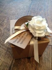 10 Wedding/Christening/Birthday favour boxes with tag ivory or brown