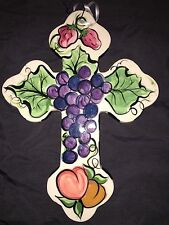 Vicki Carroll Pottery Fruit Cross Grapes Strawberries Signed Art Painting