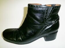Black Leather NATURALIZER N5 Comfort Side Zip Ankle Boots w/Strap & Buckle 11 M