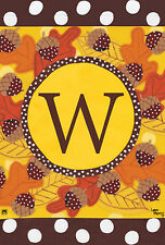 "Fall Follies Monogram W Garden Flag Autumn Leaves Acorns Letter W 12.5"" x 18"""