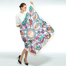 """Women's White Big Silk Shawl with Euro Fashion Printed Scarf Wraps 51""""*51"""""""