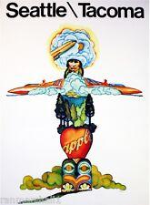 Seattle Tacoma Washington United States Vintage Travel Advertisement Art Poster
