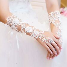 Beautiful Pearl Lace Floral Bride Fingerless Gloves For Wedding Party White