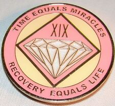 Alcoholics Anonymous AA NA PINK 19 Year Medallion Clean Token Chip sober Coin