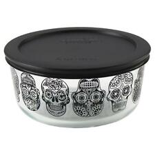 "Pyrex ""DAY of the DEAD"" Halloween BLACK SUGAR SKULLS 1 Qt STORAGE BOWL & COVER"