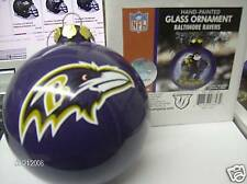 "Baltimore RAVENS Glass Ornament Hand Painted Christmas NEW In BOX 4"" FAN GIFT"
