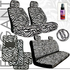 New Premium Quality Zebra Low Back Car Seat Covers Floor Mats Steering Wheel Set