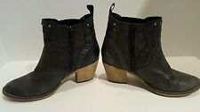 Steve Madden Women's Black Leather Western Studded Ankle Boots Size 37/6.5
