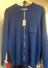 """Mens Vintage 1960s Mod Go Go Blue Zipped Knitted Cardigan 42"""" T4"""