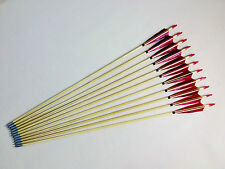 12PK Handmade Red Feather Wood Arrows Hunting Archery for Recurve Compound bow