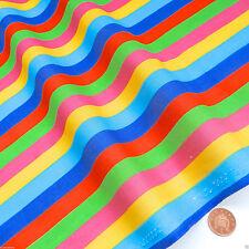 Regenbogen-Stoff Stoffrolle 1 Meter Gestreift Bunt Grün Gelb Blau 112cm Breit