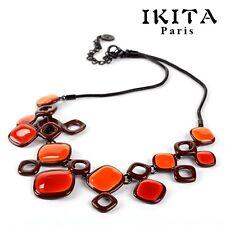 Luxus Statement Kette IKITA Paris Halskette Emaille Collier Metall Schwarz