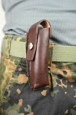 "4.5"" genuine Army Vintage Folding Knife Pouch Belt Holder Real Leather Genuin"